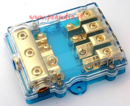 Portafusibile/derivatore dorato per 4 fusibili AFC